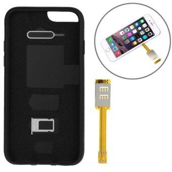 Bluesky iPhone 6 Plus/6S Plus Dual SIM Card Adapter with a BackCase Cover (Black)