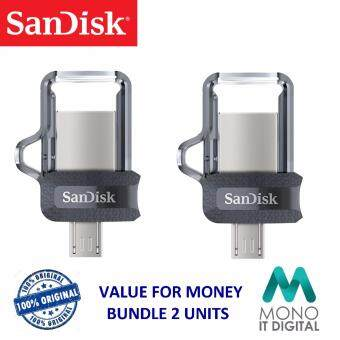 BUNDLE SanDisk Ultra Dual Drive 16GB m3.0 OTG Dual USB Flash Drive for Android & Computers (2 Unit)