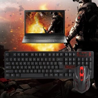 [Buy 1 Get 1 Free Gift] 104 Key USB Wireless Gaming Keyboard and Mouse Combo Adjustable DPI (Black) Malaysia