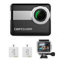 "DBPOWER 4K WiFi Action Camera 2.31"" LCD Touchscreen 20MP 170 Wide Angle Waterproof Sports Cam 2 Rechargeable Batteries included Accessories Kits 2017"