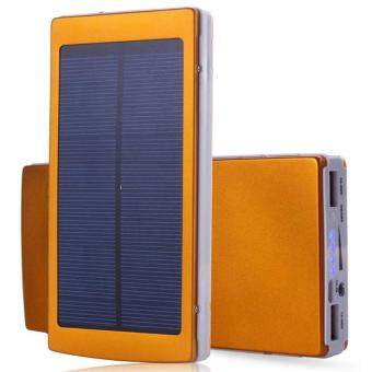 Dual USB Solar Power Bank Solar Mobile Matte Power Bank 20000mAhPowerful Solar Power Bank 20000mAh Charge with Sunlight (Gold)