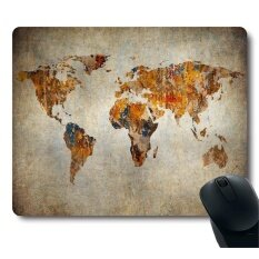 Grunge World Map Vintage Mouse Pad Thick Mouse Pad                 Malaysia