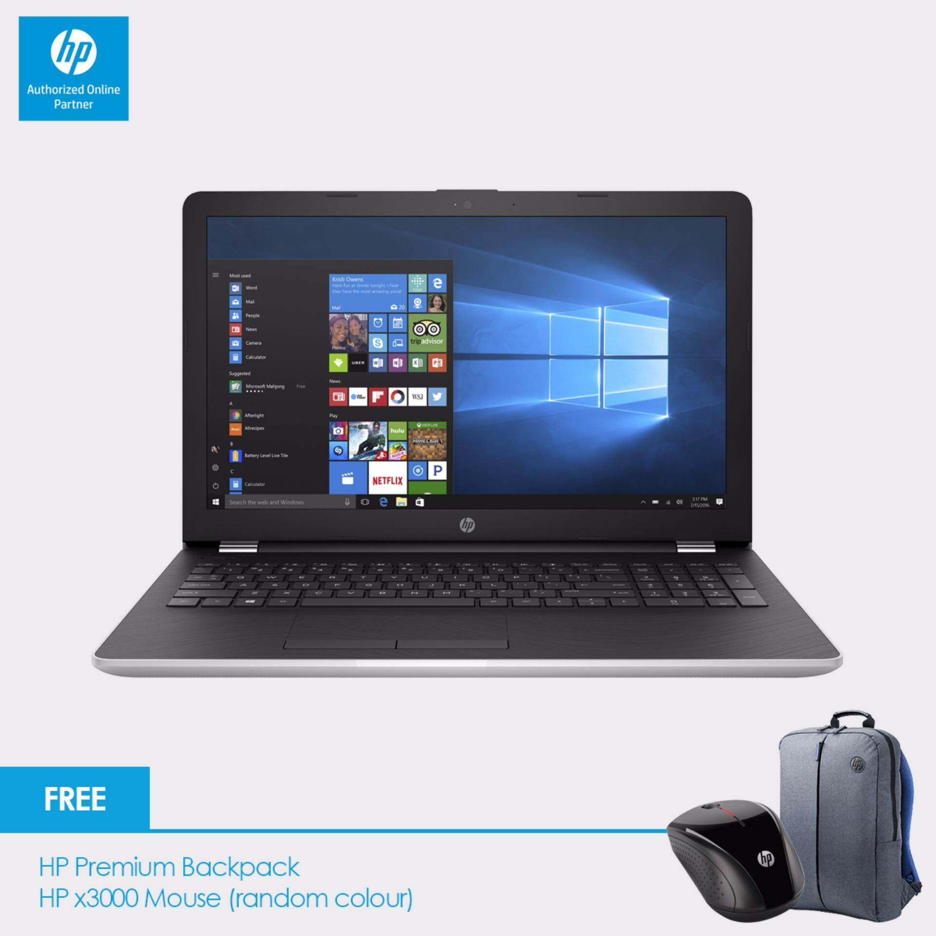 HP 15-bw075AX Laptop (A12-9720P, 4GBD4, 1TB, AMD 530 4GB, 15.6, Win10) - Natural Silver + Free Backpack n HP X3000 Wireless Mouse Malaysia