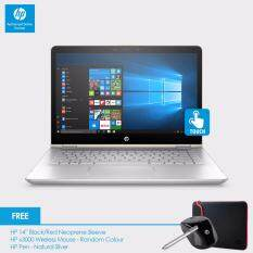 HP Pavilion x360 14-ba064TX Laptop (i5-7200U, 4GBD4, 1TB+8GB, 940MX 2GB, 14.0 FHD, Win10) - Silk Gold cover, Natural Silver Base + HP Sleeve, HP Pen, HP x3000 Mouse Malaysia