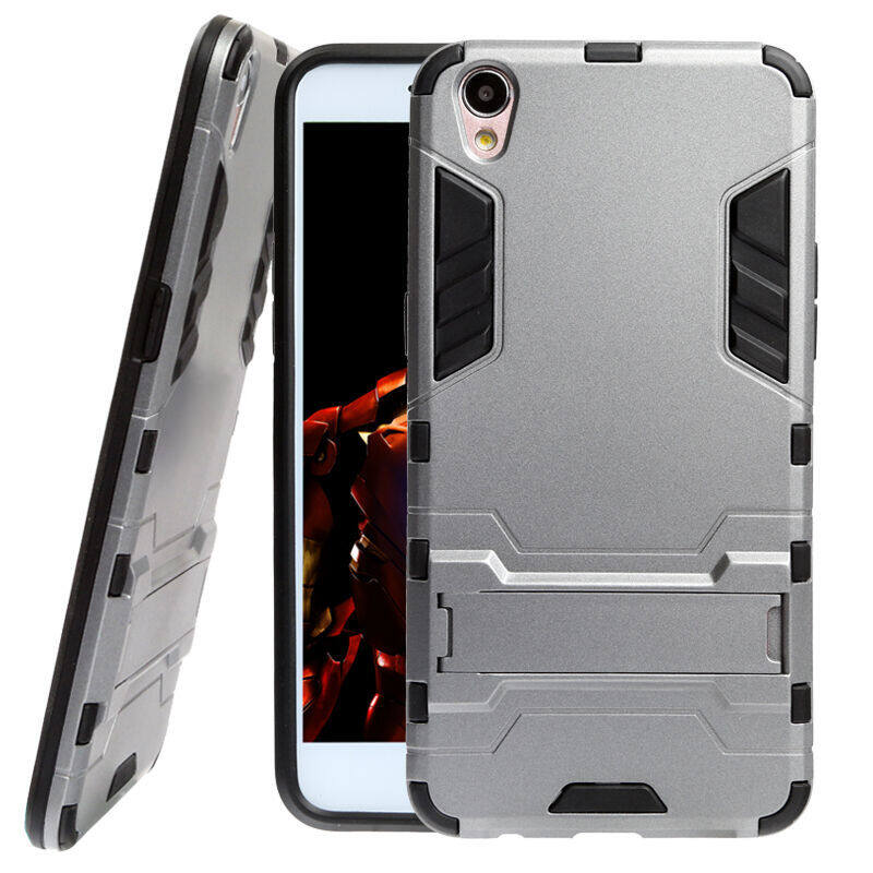 Pc Tpu Hybrid Armor Kickstand Case For Oppo F1 Red Intl .