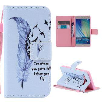 Harga Leather Flip Stand Case Wallet Cover for Samsung Galaxy A5(2015) - Birds Feather