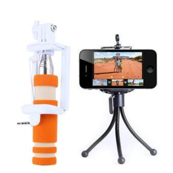 Harga Mini Monopod Selfie Stick Bundle With Mini Tripod Selfie - Orange