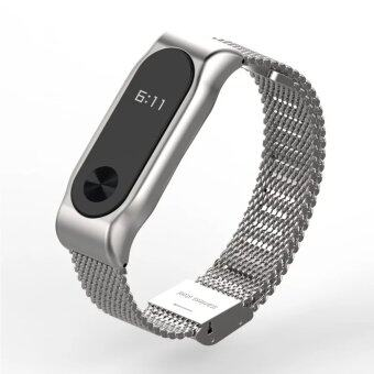 Harga Original Mijobs Strap Belt for For Xiaomi Mi Band 2 Metal Strap Screwless Stainless Steel Bracelet For MiBand 2 Wristbands Replace Accessories Smart bracelet – Silver