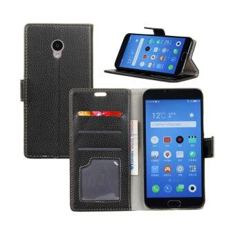 Harga Leather High Quality Litchi Skin Wallet Magnetic Flip Case Cover For Alcatel One Touch Pixi 4 5.0 5045D 4G (Black)