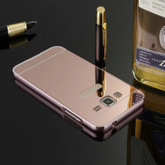 Harga Fancytoy Luxury Aluminum Metal Frame Mirror Back Case Cover For Samsung J3/J1/G530 (Plum)