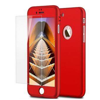 Harga 360 Full Body Coverage Protection Hard Slim Ultra-thin Hybrid Case Cover & Skin with Tempered Glass Screen Protector for Apple iPhone 7 Plus (Red)