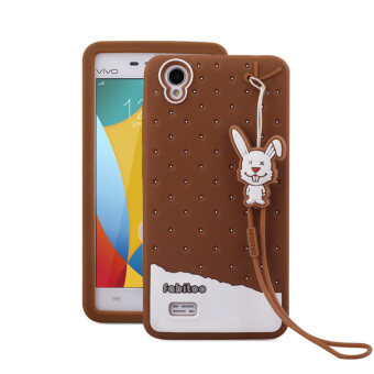 Harga Fabitoo Cute ice cream silicone back cover case For VIVO Y31 With lanyard -Coffee Color