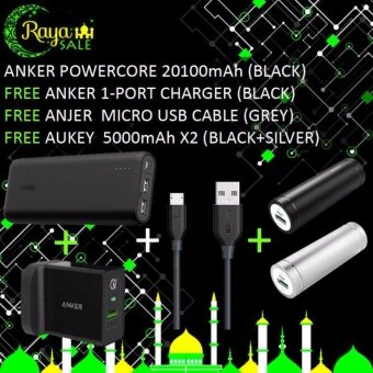 Harga Anker Powercore External Battery 20100mAh (Black) + Free Anker 1-Port Charger (Black) + Free Anker Micro USB Cable (Grey) + Free Aukey 5000mAh x2