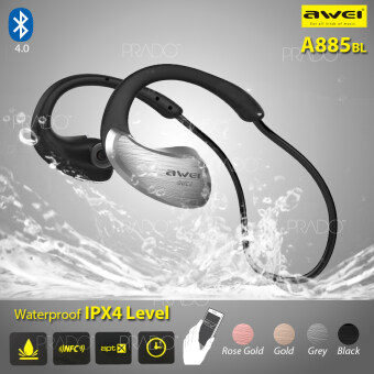 Harga AWEI A885BL Wireless Bluetooth Headset Waterproof IPX4 Earphones NFC-Gery
