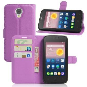 Harga PU Leather Wallet Case Cover For Alcatel One Touch Pixi 4 (5.0 inch) 3G Version (Purple)