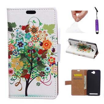 Harga Case for Alcatel One Touch Flash OT-6042D PU Leather Flip Case Stand Cover - Colorful Tree