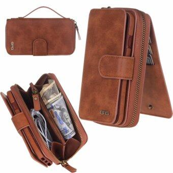 Harga iPhone 7 Plus (5.5 inch) Cover, Gasin Leather Zipper Multi-functional Wallet Purse Removable Magnetic Case with Flip Credit Card Holder Organizer Brown