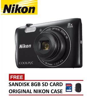 Harga Nikon Coolpix A300 Digital Camera (Black) + 8GB SanDisk SDHC Card + Nikon Casing (ORIGINAL NIKON MALAYSIA)