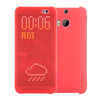 Harga Smart Auto Sleep Wake View Shell Soft Silicone Flip Leather Cover for HTC M8/M8t/M8w/M8d/m8 eye (Red)