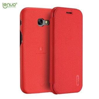 Harga Samsung Galaxy A7 2017 Case, Lenuo Lemeng Ultra Thin Crash Proof Slim Fit Flip Up Inside Card Slot PU Leather Cover Soft PC Protective Shell Integrated Back Case for Samsung Galaxy A7 2017 - Red