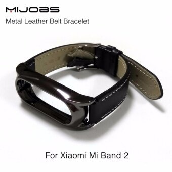Harga New Version Original Mijobs Leather Strap For Xiaomi Mi Band 2 Metal Leather Screwless Wristbands Replace Bracelet For MiBand 2 - Black