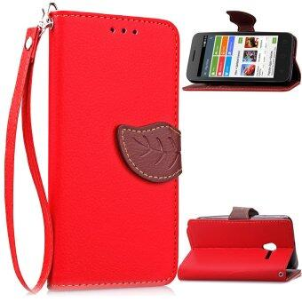 Harga PU Leather Unique Leaf Flip Wallet Stand Cover for Alcatel One Touch Pixi 3 4.0 inches (Red)