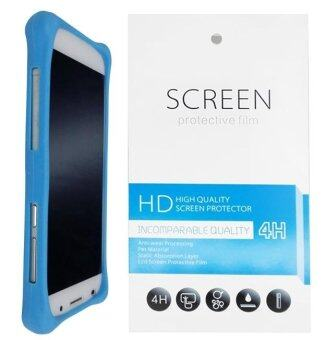 Harga Universal Bumper Silicone Cover Case (Blue) + 1 Clear Screen Protector for Alcatel One Touch Flash Plus