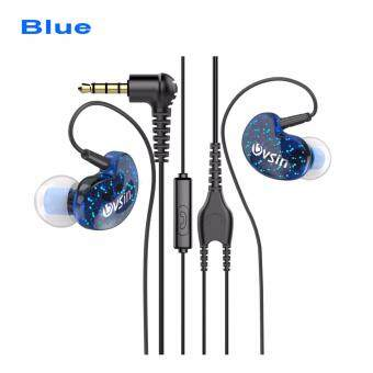 Harga LJ•MILLKEY L113-3 3.55mm Wired In-ear Earphone Super Bass HiFi Stereo Headphones Noise Isolating Sport Earplugs Headset with Microphone for ISO Android phones (Blue)
