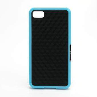 Harga Cube Design TPU & Plastic Hybrid Case for BlackBerry Z10 BB 10 - Black / Blue