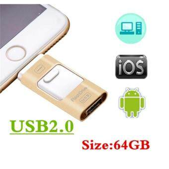 Harga NEW Gold I- IFLASH Flash Drive USB Memory Stick OTG Device 64GB for iPhone IOS Android PC/MAC - Int'l