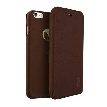 Harga iPhone 6 Plus / 6S Plus Case, Lenuo Lemeng Ultra Thin Crash Proof Slim Fit Flip Up Inside Card Slot PU Leather Cover Soft PC Protective Shell Integrated Back Case for Apple iPhone 6 Plus / 6S Plus 5.5 inch - Brown