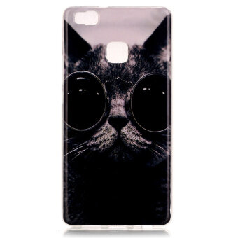 Harga Soft IMD TPU Shell Case for Huawei P9 Lite - Adorable Cat Wearing Glasses