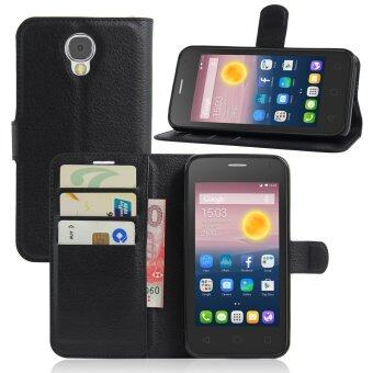 Harga PU Leather Wallet Case Cover For Alcatel One Touch Pixi 4 (5.0 inch) 3G Version (Black)
