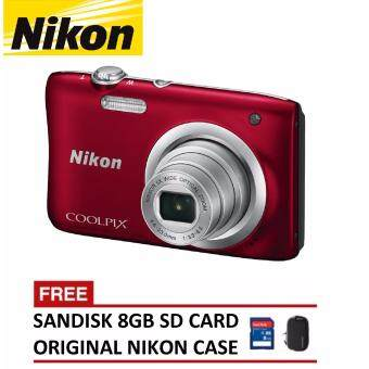 Harga Nikon CoolPix A100 Digital Camera - Red (Nikon Malaysia Warranty)
