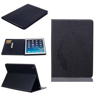 Harga Feather PU Leather Case Flip Wallet Stand Cover for Apple iPad 5 / iPad Air (Black)