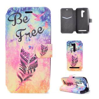 Harga Pattern Printing Magnetic Leather Cell Phone Case for Asus Zenfone Go ZB500KL - Feather and Be Free