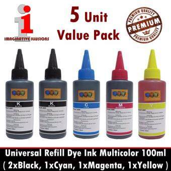 Harga Universal Refill Ink Dye Multicolor 100ml x 5 For Brother / Canon / Epson / HP (Value Pack)