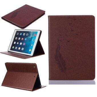 Harga Feather PU Leather Case Flip Wallet Stand Cover for Apple iPad 5 / iPad Air (Brown)