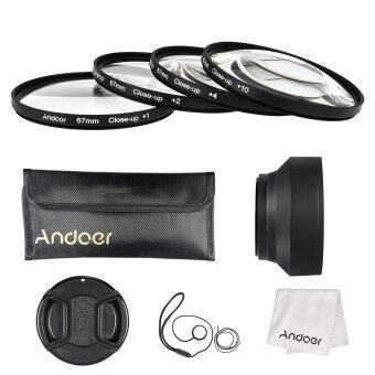 Harga Andoer 67mm Close-up Macro Lens Filter Set(+ 1 +2 +4 +10) with Lens Accessories(Lens Pouch/Collapsible Lens Hood/Lens Cap/Lens Cap Holder/Cleaning Cloth)