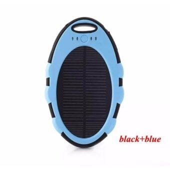 Harga *BlackMart* Solar Charger / Power Bank Waterproof Dual USB with LED Light (Blue)