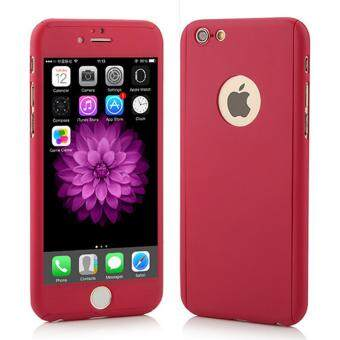Harga 360 Degree Full Body Protection Cover Show Logo Case With Tempered Glass For iPhone 5/5S/5SE (Red)