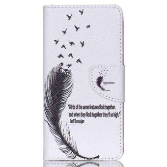 Harga Black Feather Card Slot Wallet PU Leather Stand Flip Case Cover For Acer Liquid Z520 Case