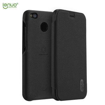 Harga Xiaomi Redmi 4X Case, Lenuo Lemeng Ultra Thin Crash Proof Slim Fit Flip Up Inside Card Slot PU Leather Cover Soft PC Protective Shell Integrated Back Case for Xiaomi Redmi 4X - Black