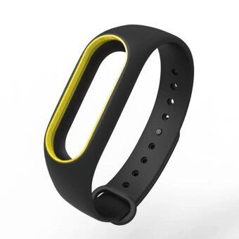 Harga Original Mijobs Replace Strap for Xiaomi Mi Band 2 Version MiBand 2 Silicone Wristbands for Mi Band 2 Smart Bracelet for Xiao Mi Band 2 – Black with Yellow