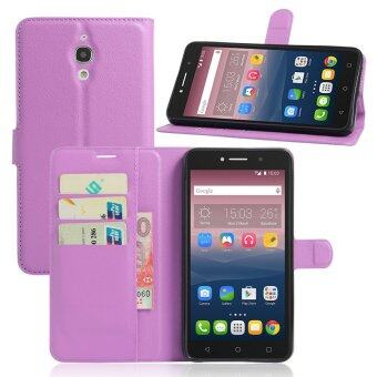 Harga PU Leather Wallet Case Cover For Alcatel One Touch Pixi 4 (6) 6.0 Inch 3G Version (Purple)