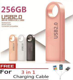 Harga New pendrive 256GB pen drive usb flash drive mini key Metal Water Proof Quick Stick USB Flash Drive(pink)