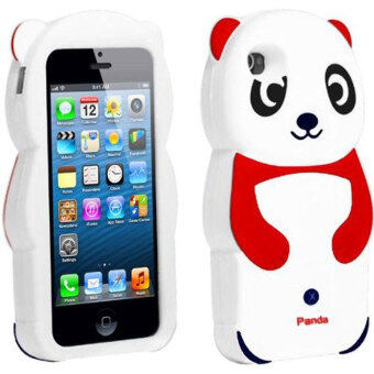 Harga Leegoal Cute 3D Panda Silicone Rubber Soft Case Cover for iPhone 5 5S (Red/White)