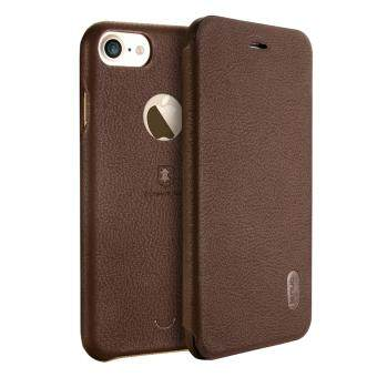 Harga iPhone 7 Case, Lenuo Lemeng Ultra Thin Crash Proof Slim Fit Flip Up Inside Card Slot PU Leather Cover Soft PC Protective Shell Integrated Back Case for Apple iPhone 7 4.7 inch - Brown