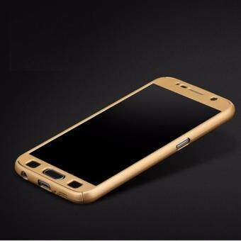 Harga 360 Degree Full Body Protection Cover Case With Tempered Glass for Samsung Galaxy Note 4 (Gold)