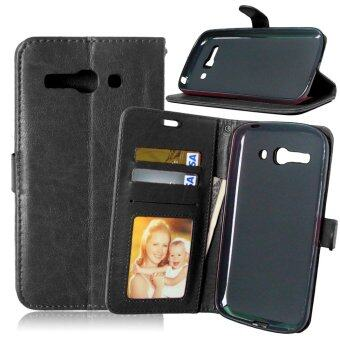 Harga Leather Wallet Case Flip Cover with Credit Card ID Holder for Alcatel One Touch POP C9 OT 7047 7047D (Black)